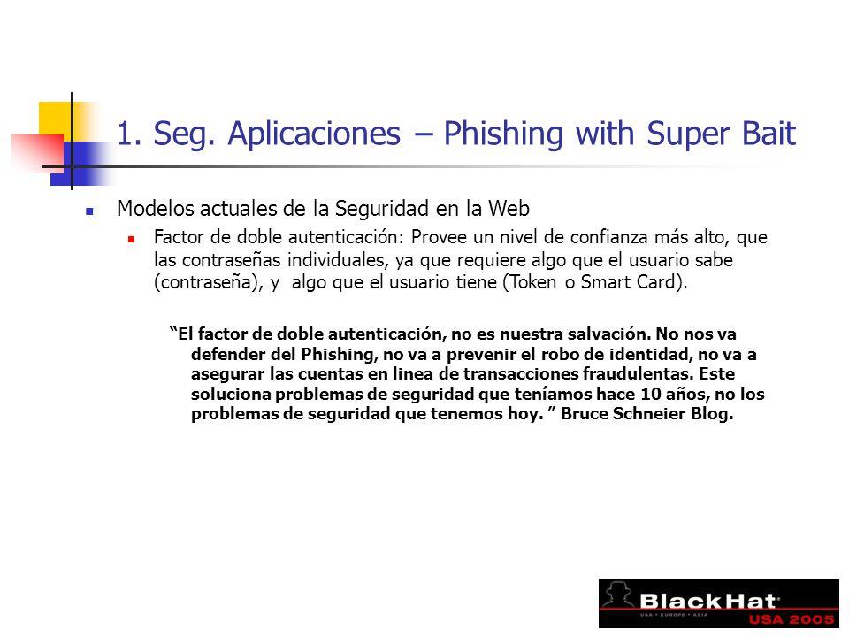 1. Seg. Aplicaciones – Phishing with Super Bait Modelos actuales de la Seguridad en la Web Factor de doble autenticación: Provee un nivel de confianza