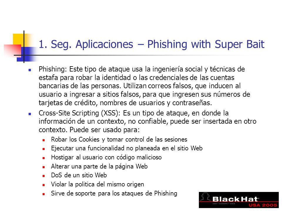 1. Seg. Aplicaciones – Phishing with Super Bait Phishing: Este tipo de ataque usa la ingeniería social y técnicas de estafa para robar la identidad o