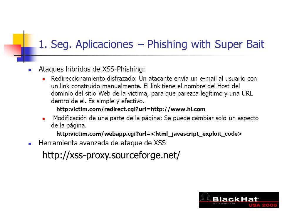 1. Seg. Aplicaciones – Phishing with Super Bait Ataques híbridos de XSS-Phishing: Redireccionamiento disfrazado: Un atacante envía un e-mail al usuari