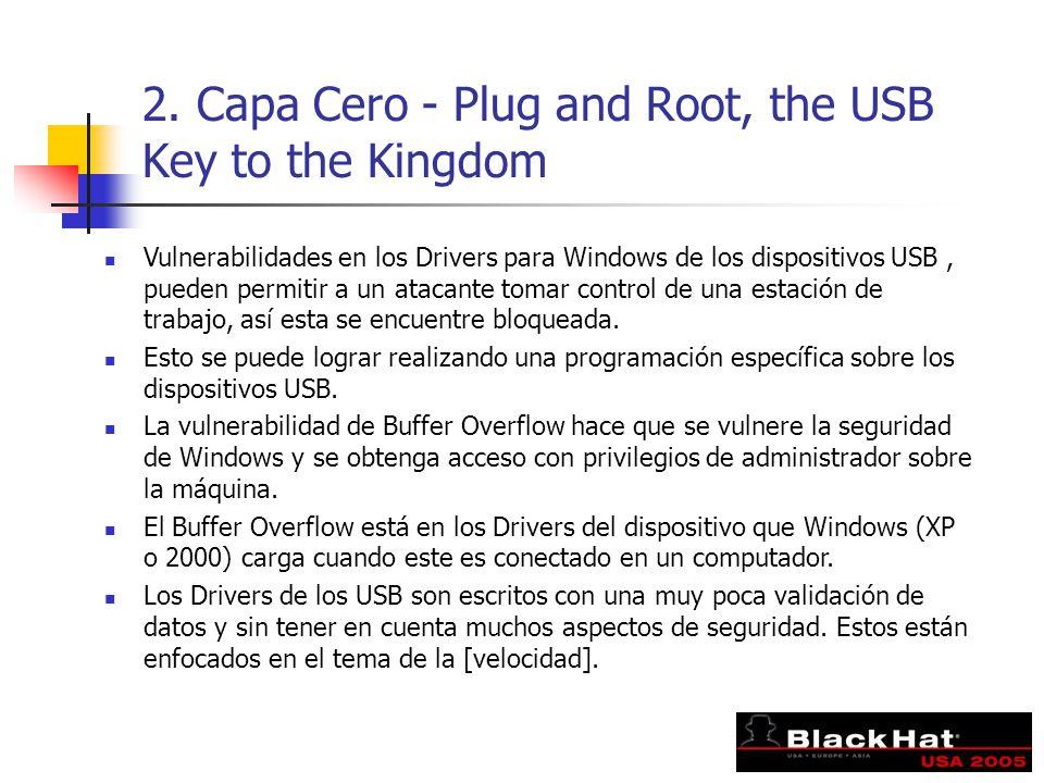 2. Capa Cero - Plug and Root, the USB Key to the Kingdom Vulnerabilidades en los Drivers para Windows de los dispositivos USB, pueden permitir a un at