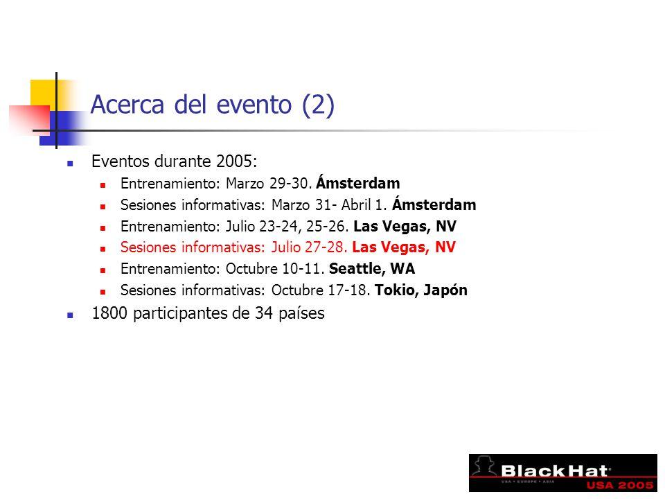 Acerca del evento (2) Eventos durante 2005: Entrenamiento: Marzo 29-30. Ámsterdam Sesiones informativas: Marzo 31- Abril 1. Ámsterdam Entrenamiento: J