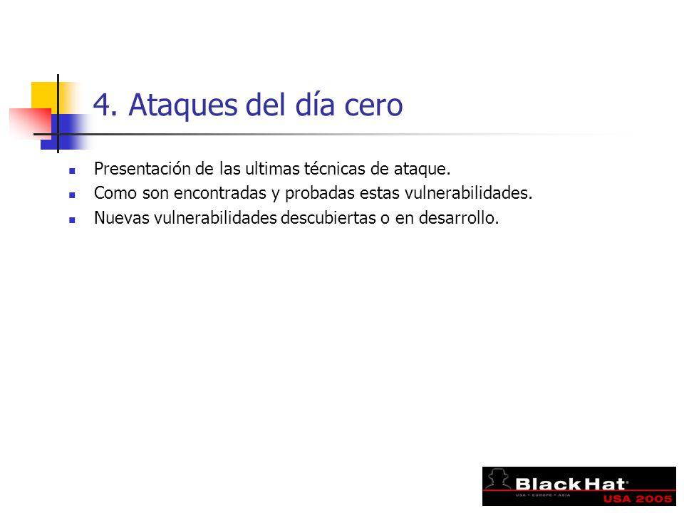 4. Ataques del día cero Presentación de las ultimas técnicas de ataque. Como son encontradas y probadas estas vulnerabilidades. Nuevas vulnerabilidade