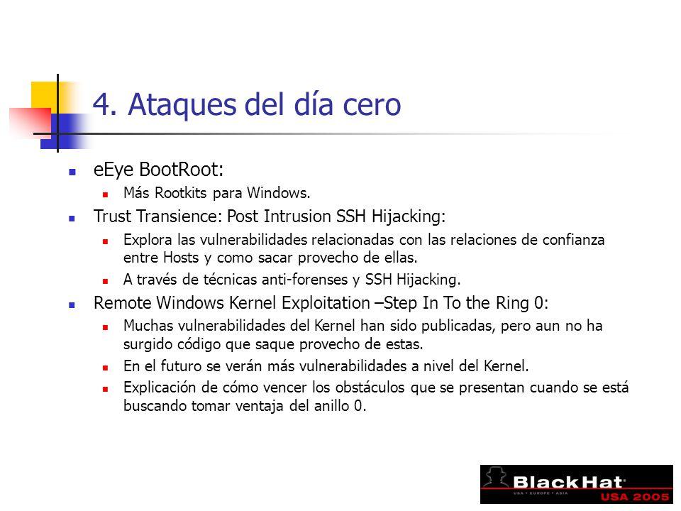 4. Ataques del día cero eEye BootRoot: Más Rootkits para Windows. Trust Transience: Post Intrusion SSH Hijacking: Explora las vulnerabilidades relacio
