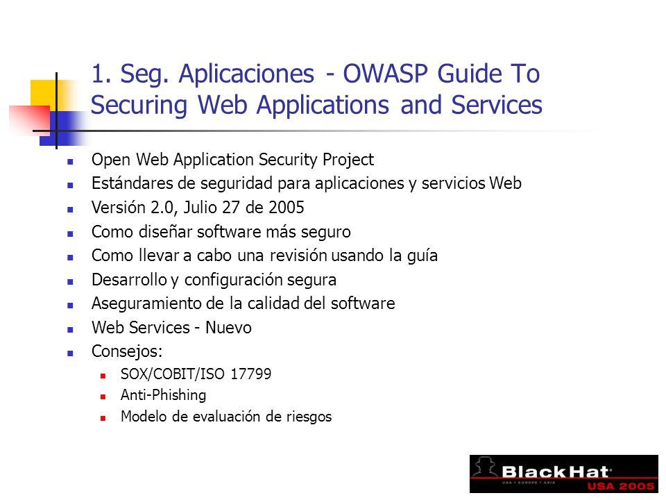 1. Seg. Aplicaciones - OWASP Guide To Securing Web Applications and Services Open Web Application Security Project Estándares de seguridad para aplica