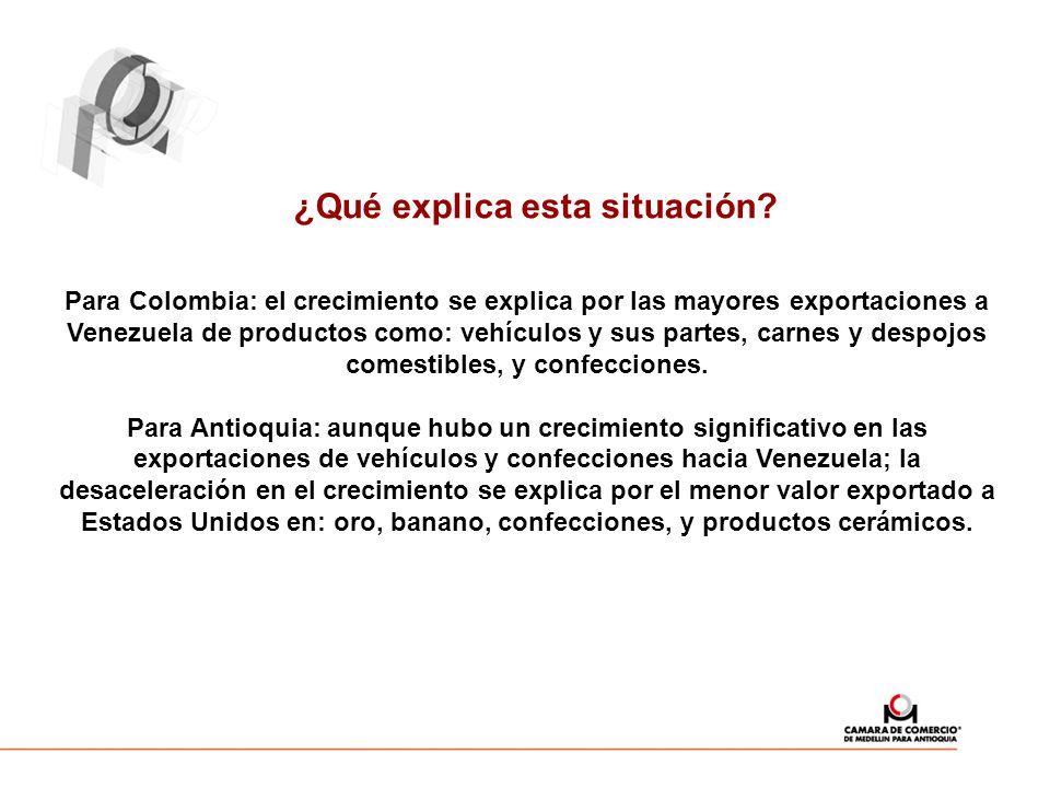¿Qué explica esta situación? Para Colombia: el crecimiento se explica por las mayores exportaciones a Venezuela de productos como: vehículos y sus par