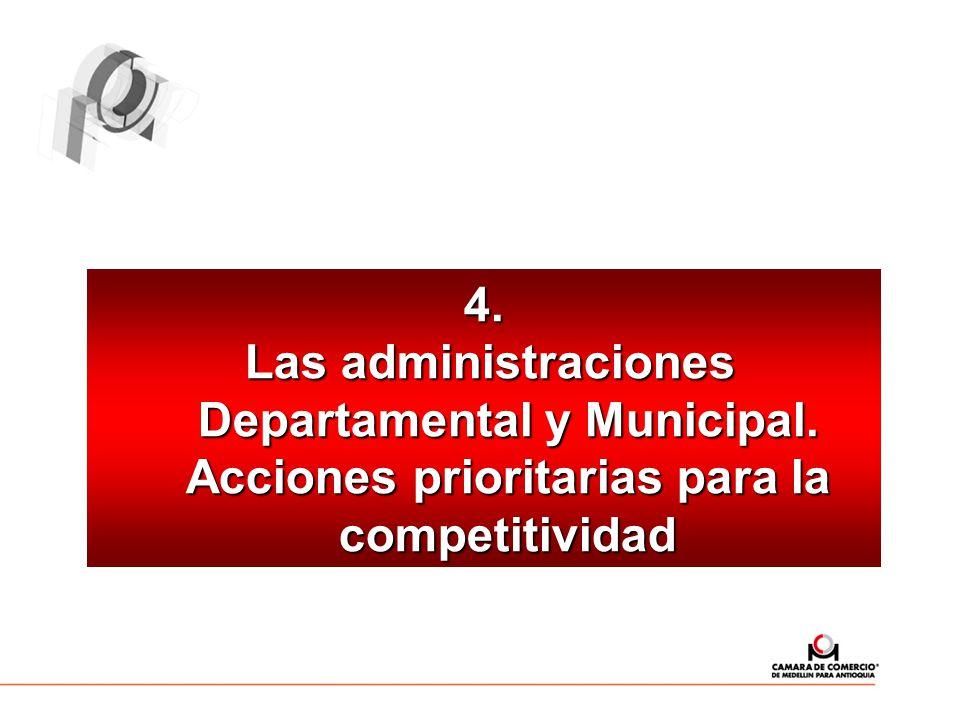 4. Las administraciones Departamental y Municipal. Acciones prioritarias para la competitividad Las administraciones Departamental y Municipal. Accion