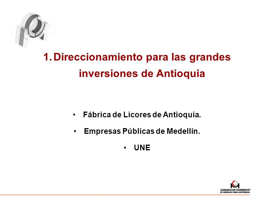 1.Direccionamiento para las grandes inversiones de Antioquia Fábrica de Licores de Antioquia. Empresas Públicas de Medellín. UNE