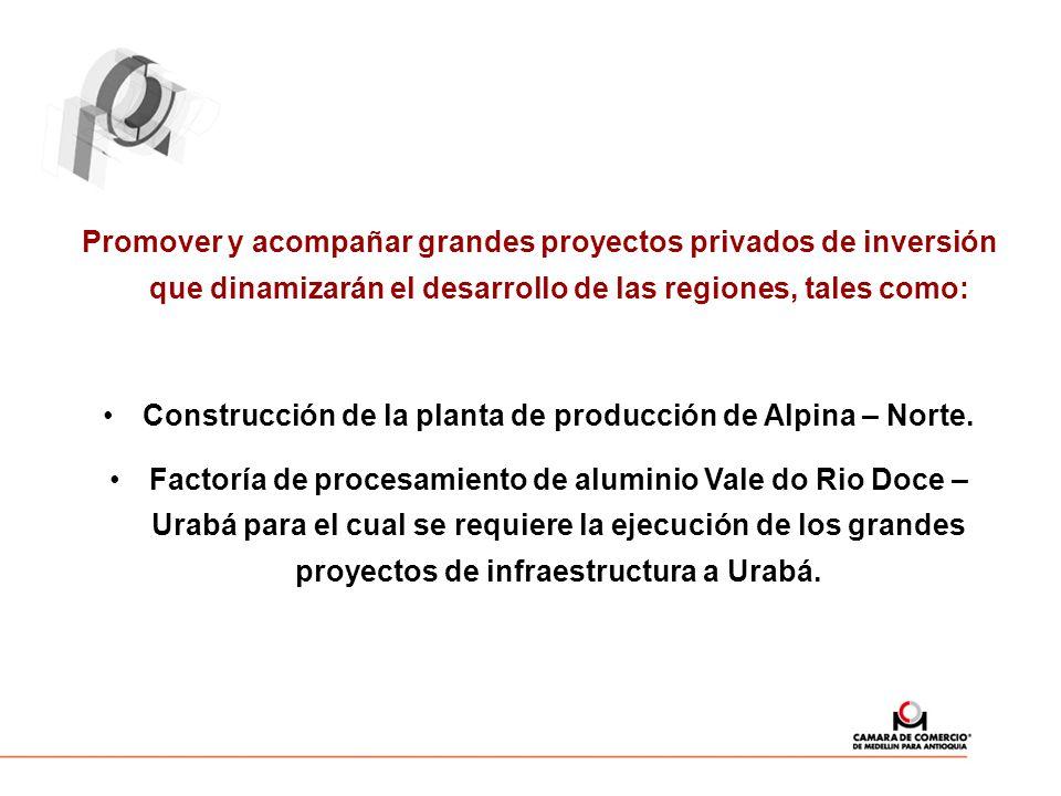 Promover y acompañar grandes proyectos privados de inversión que dinamizarán el desarrollo de las regiones, tales como: Construcción de la planta de producción de Alpina – Norte.