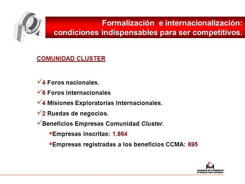 COMUNIDAD CLUSTER 4 Foros nacionales. 6 Foros internacionales 4 Misiones Exploratorias Internacionales. 2 Ruedas de negocios. Beneficios Empresas Comu