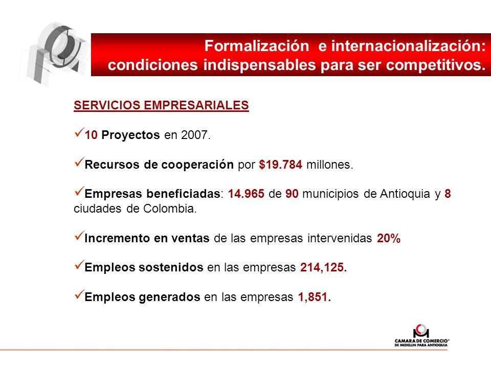 Formalización e internacionalización: condiciones indispensables para ser competitivos. SERVICIOS EMPRESARIALES 10 Proyectos en 2007. Recursos de coop