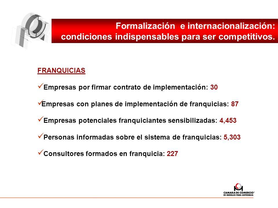 Formalización e internacionalización: condiciones indispensables para ser competitivos. FRANQUICIAS Empresas por firmar contrato de implementación: 30