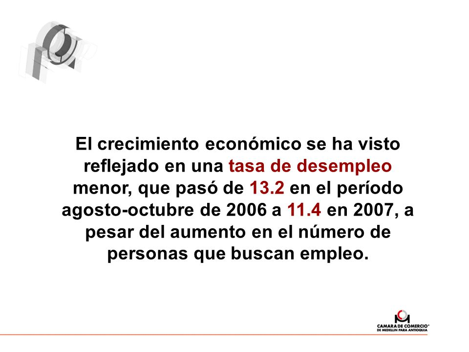 El crecimiento económico se ha visto reflejado en una tasa de desempleo menor, que pasó de 13.2 en el período agosto-octubre de 2006 a 11.4 en 2007, a