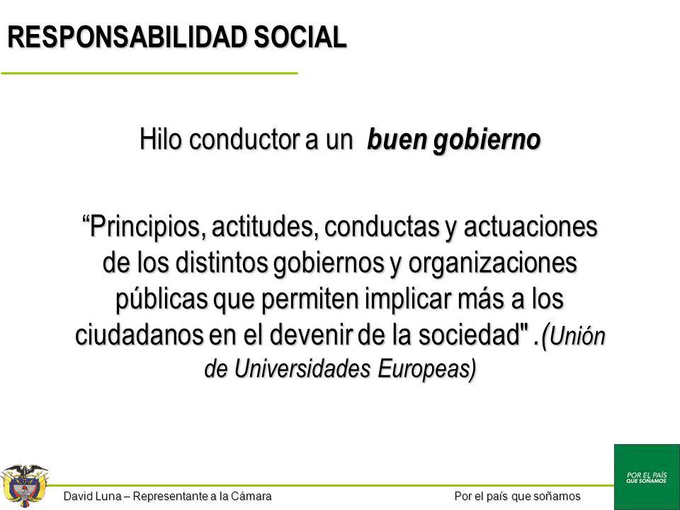 Por el país que soñamos David Luna – Representante a la Cámara RESPONSABILIDAD SOCIAL Hilo conductor a un buen gobierno Principios, actitudes, conduct
