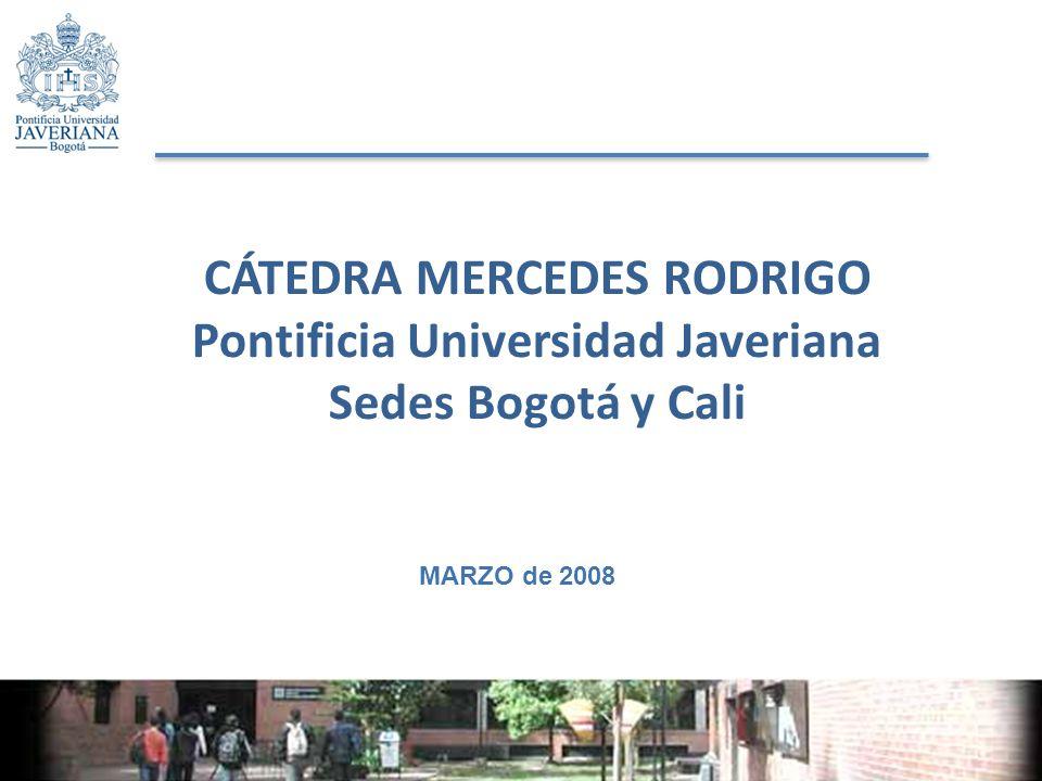 CÁTEDRA MERCEDES RODRIGO Pontificia Universidad Javeriana Sedes Bogotá y Cali MARZO de 2008