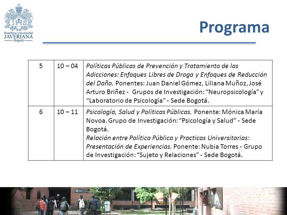 Programa 510 – 04Políticas Públicas de Prevención y Tratamiento de las Adicciones: Enfoques Libres de Droga y Enfoques de Reducción del Daño.