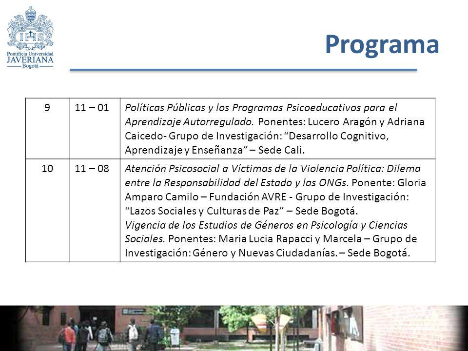 Programa 911 – 01Políticas Públicas y los Programas Psicoeducativos para el Aprendizaje Autorregulado.