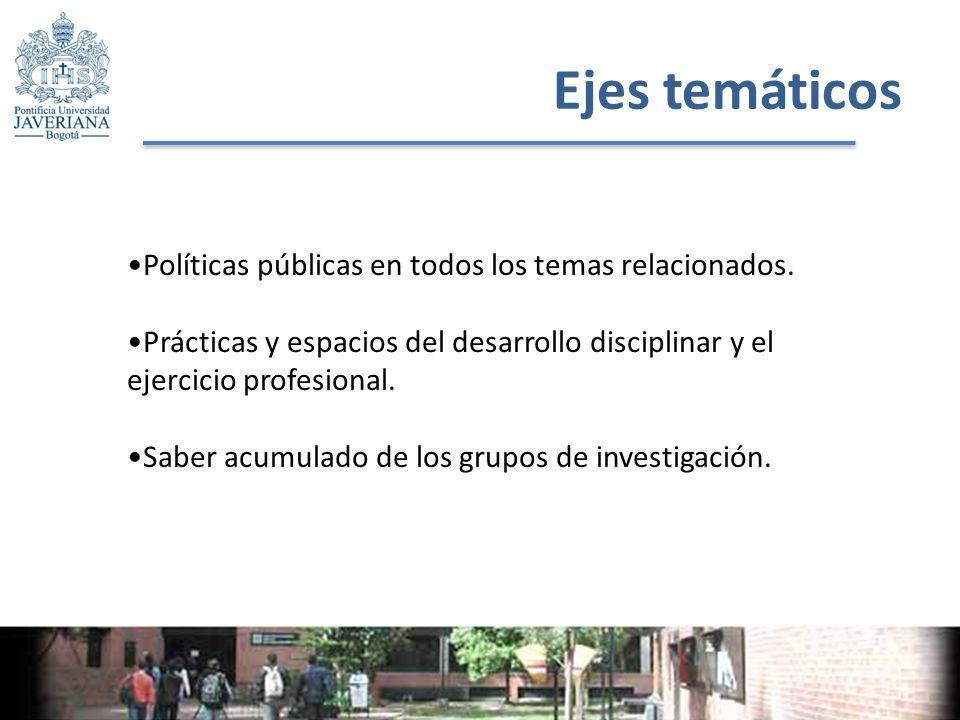 Ejes temáticos Políticas públicas en todos los temas relacionados.