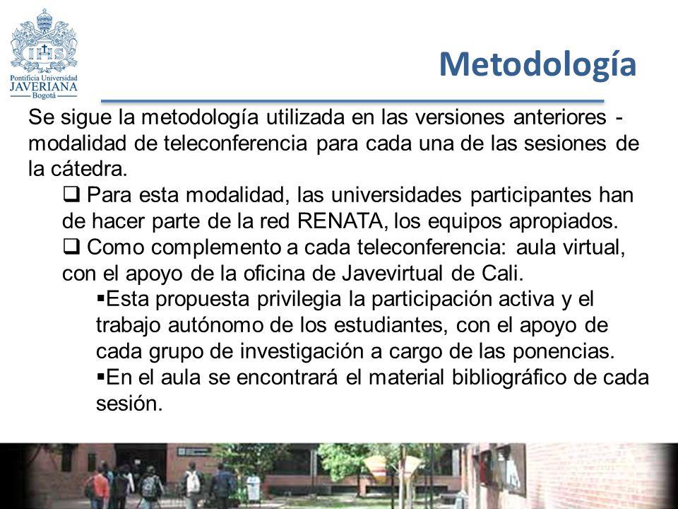 Metodología Se sigue la metodología utilizada en las versiones anteriores - modalidad de teleconferencia para cada una de las sesiones de la cátedra.