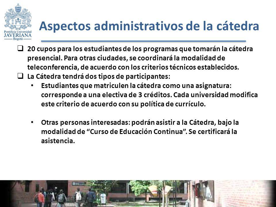Aspectos administrativos de la cátedra 20 cupos para los estudiantes de los programas que tomarán la cátedra presencial.