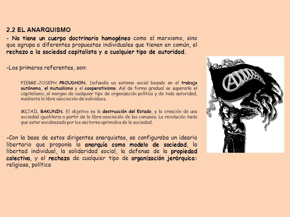 2.2 EL ANARQUISMO - No tiene un cuerpo doctrinario homogéneo como el marxismo, sino que agrupa a diferentes propuestas individuales que tienen en comú