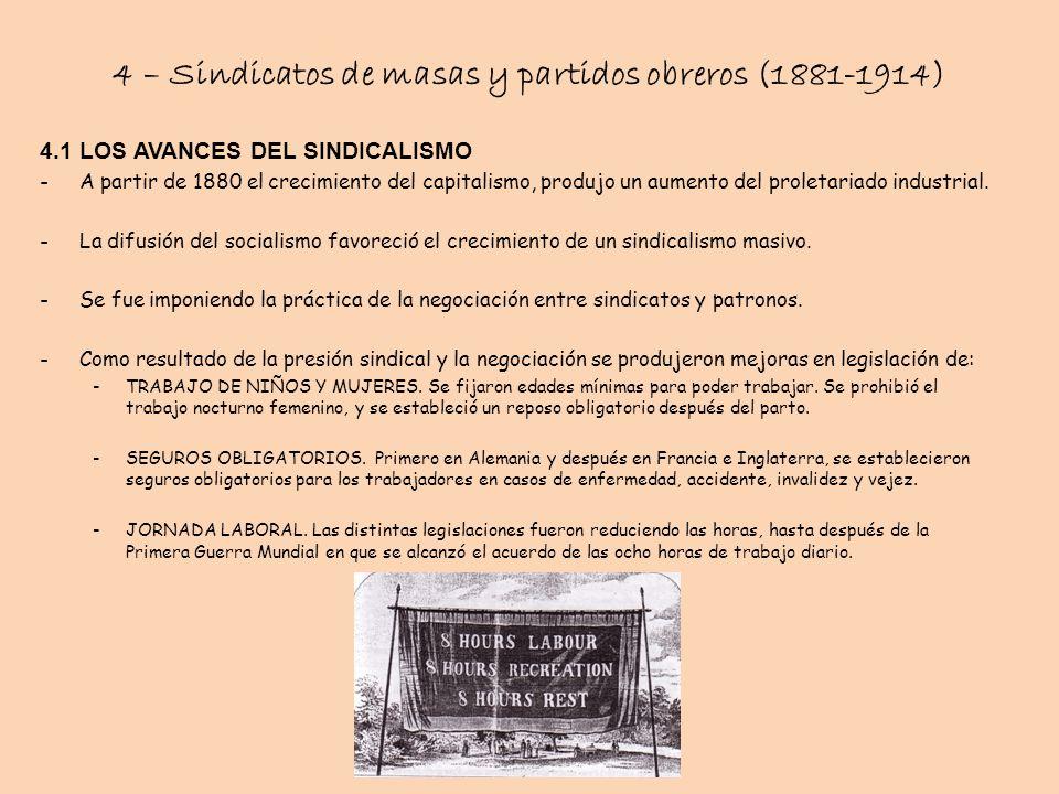4 – Sindicatos de masas y partidos obreros (1881-1914) 4.1 LOS AVANCES DEL SINDICALISMO -A partir de 1880 el crecimiento del capitalismo, produjo un a
