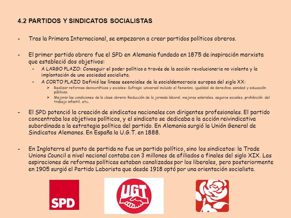 4.2 PARTIDOS Y SINDICATOS SOCIALISTAS -Tras la Primera Internacional, se empezaron a crear partidos políticos obreros. -El primer partido obrero fue e