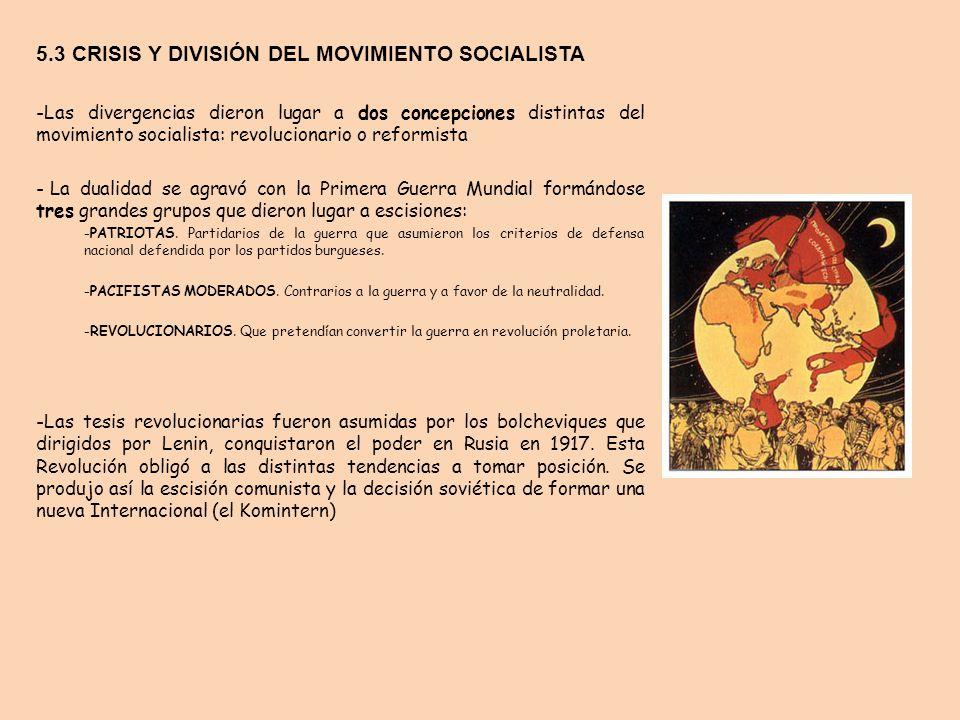 5.3 CRISIS Y DIVISIÓN DEL MOVIMIENTO SOCIALISTA -Las divergencias dieron lugar a dos concepciones distintas del movimiento socialista: revolucionario