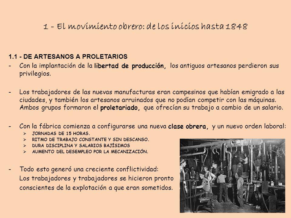 1 - El movimiento obrero: de los inicios hasta 1848 1.1 - DE ARTESANOS A PROLETARIOS -Con la implantación de la libertad de producción, los antiguos a