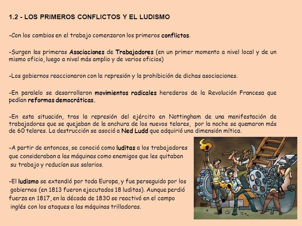 1.2 - LOS PRIMEROS CONFLICTOS Y EL LUDISMO -Con los cambios en el trabajo comenzaron los primeros conflictos. -Surgen las primeras Asociaciones de Tra