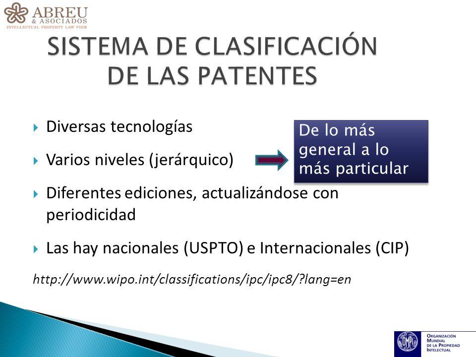 Diversas tecnologías Varios niveles (jerárquico) Diferentes ediciones, actualizándose con periodicidad Las hay nacionales (USPTO) e Internacionales (CIP) http://www.wipo.int/classifications/ipc/ipc8/ lang=en De lo más general a lo más particular