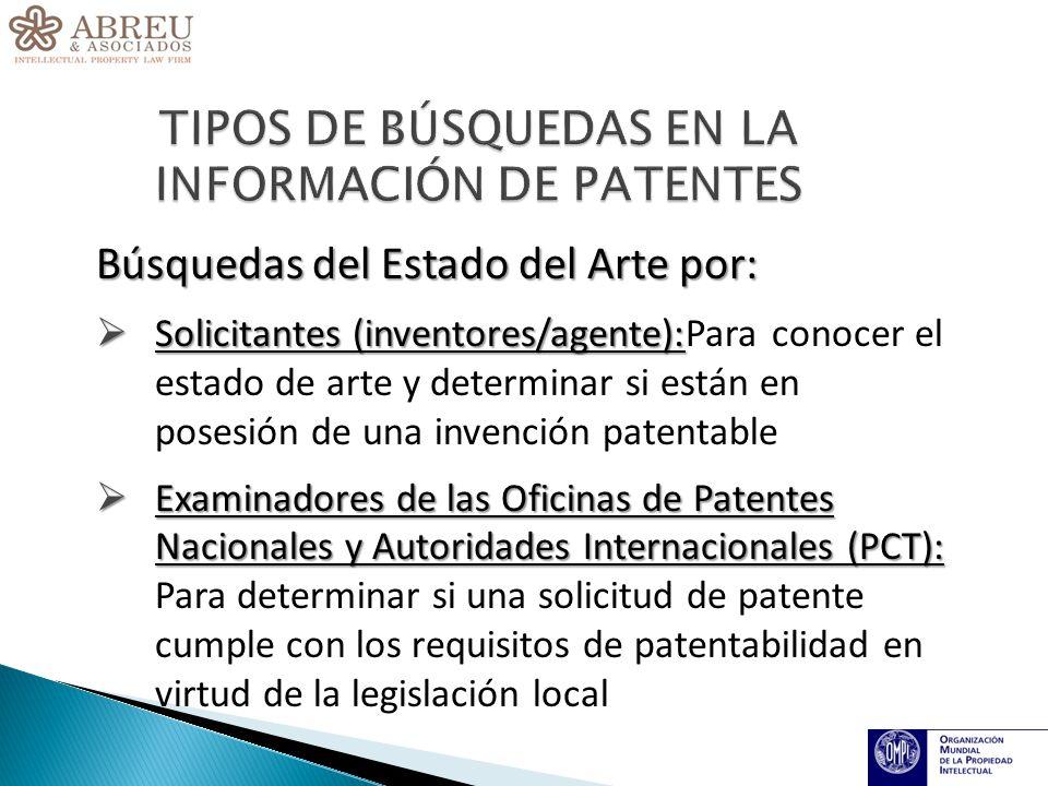 Búsquedas del Estado del Arte por: Solicitantes (inventores/agente): Solicitantes (inventores/agente):Para conocer el estado de arte y determinar si están en posesión de una invención patentable Examinadores de las Oficinas de Patentes Nacionales y Autoridades Internacionales (PCT): Examinadores de las Oficinas de Patentes Nacionales y Autoridades Internacionales (PCT): Para determinar si una solicitud de patente cumple con los requisitos de patentabilidad en virtud de la legislación local