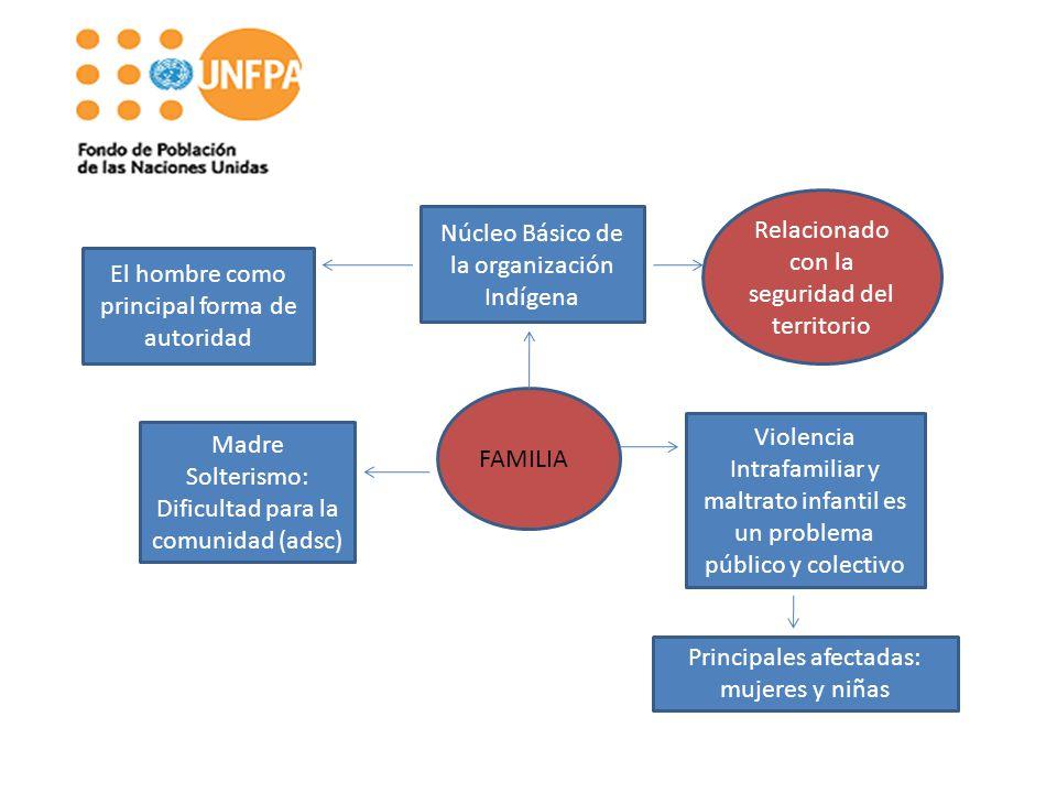 FAMILIA Núcleo Básico de la organización Indígena Violencia Intrafamiliar y maltrato infantil es un problema público y colectivo Madre Solterismo: Dif
