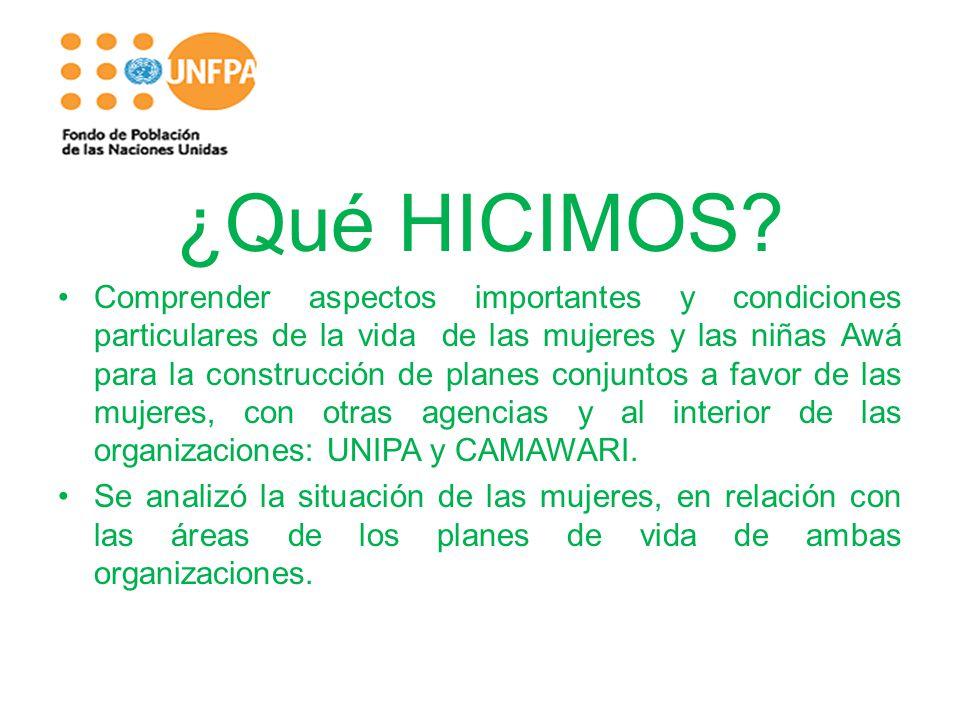 ¿Qué HICIMOS? Comprender aspectos importantes y condiciones particulares de la vida de las mujeres y las niñas Awá para la construcción de planes conj