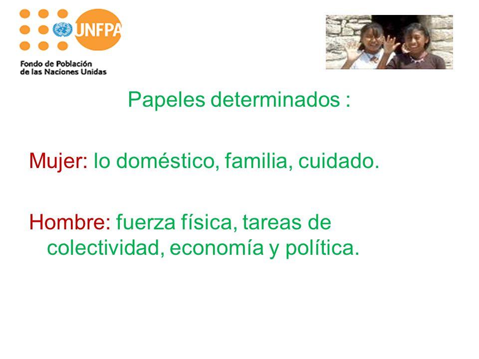 Papeles determinados : Mujer: lo doméstico, familia, cuidado. Hombre: fuerza física, tareas de colectividad, economía y política.