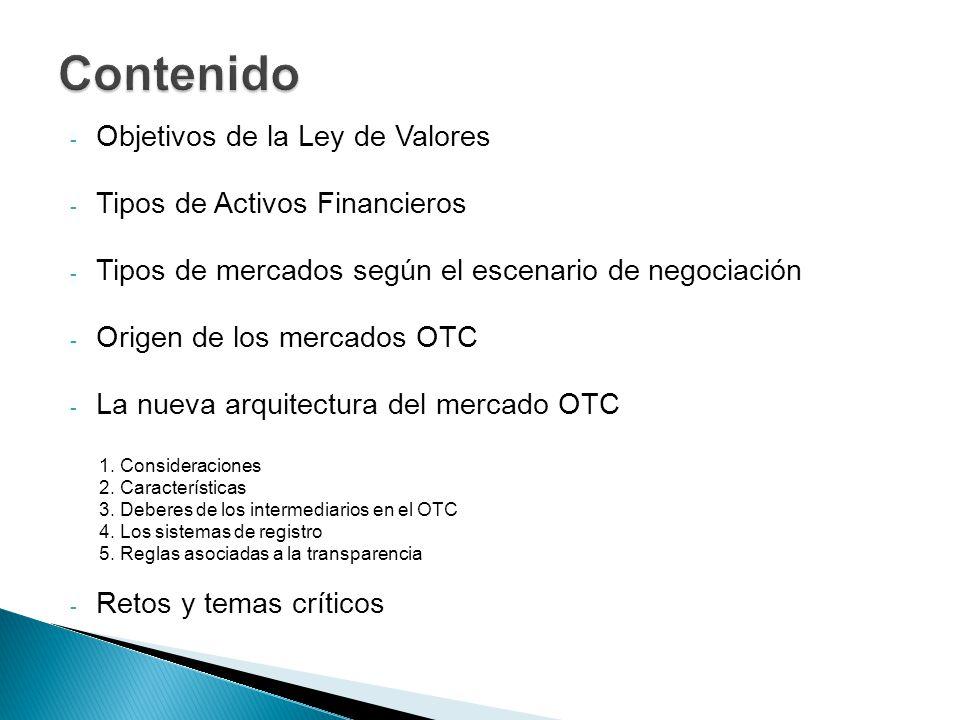 - Objetivos de la Ley de Valores - Tipos de Activos Financieros - Tipos de mercados según el escenario de negociación - Origen de los mercados OTC - L