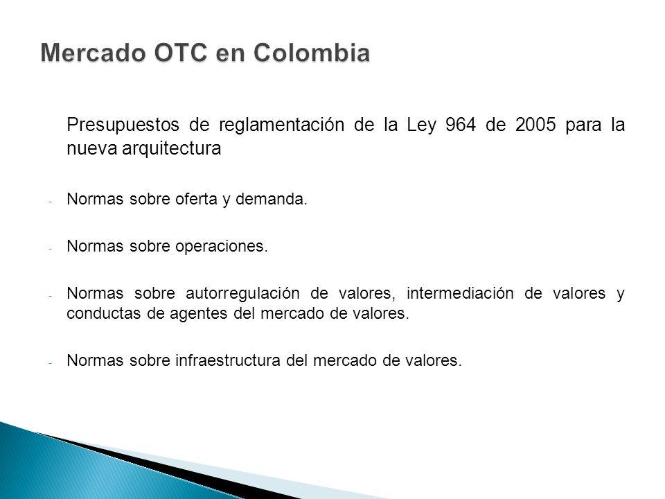 Presupuestos de reglamentación de la Ley 964 de 2005 para la nueva arquitectura - Normas sobre oferta y demanda. - Normas sobre operaciones. - Normas