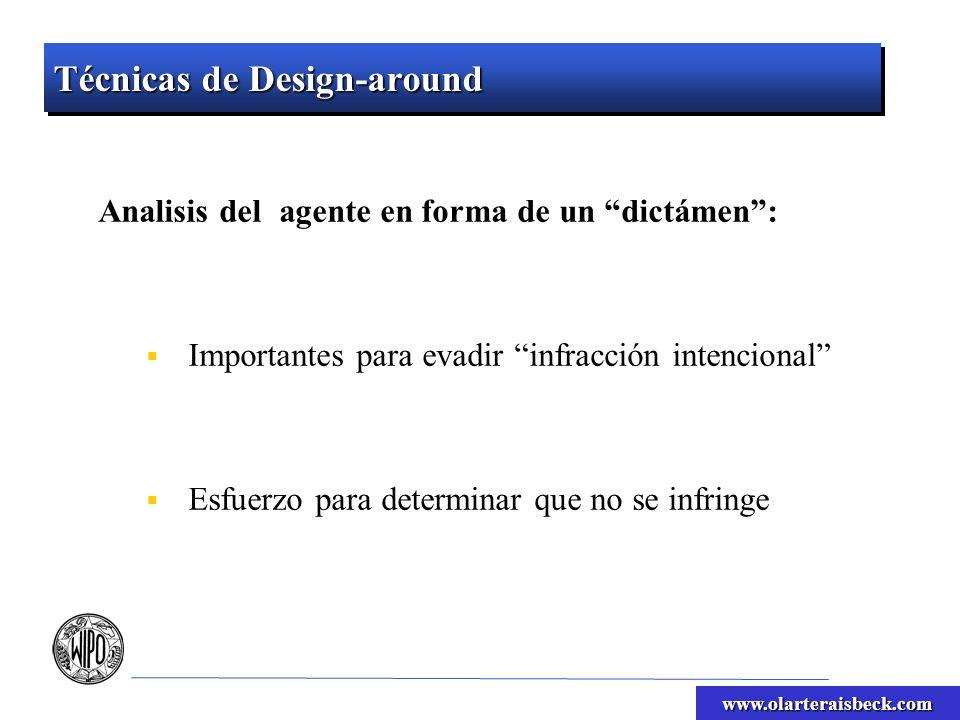 www.olarteraisbeck.com Técnicas de Design-around Analisis del agente en forma de un dictámen: Importantes para evadir infracción intencional Esfuerzo para determinar que no se infringe