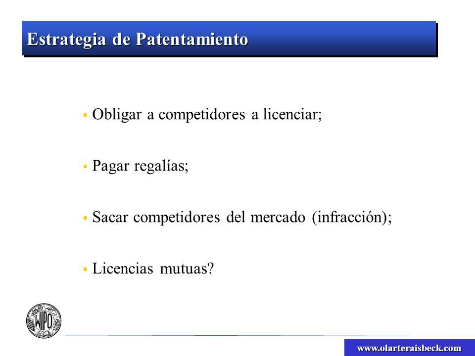 www.olarteraisbeck.com Estrategia de Patentamiento Obligar a competidores a licenciar; Pagar regalías; Sacar competidores del mercado (infracción); Licencias mutuas
