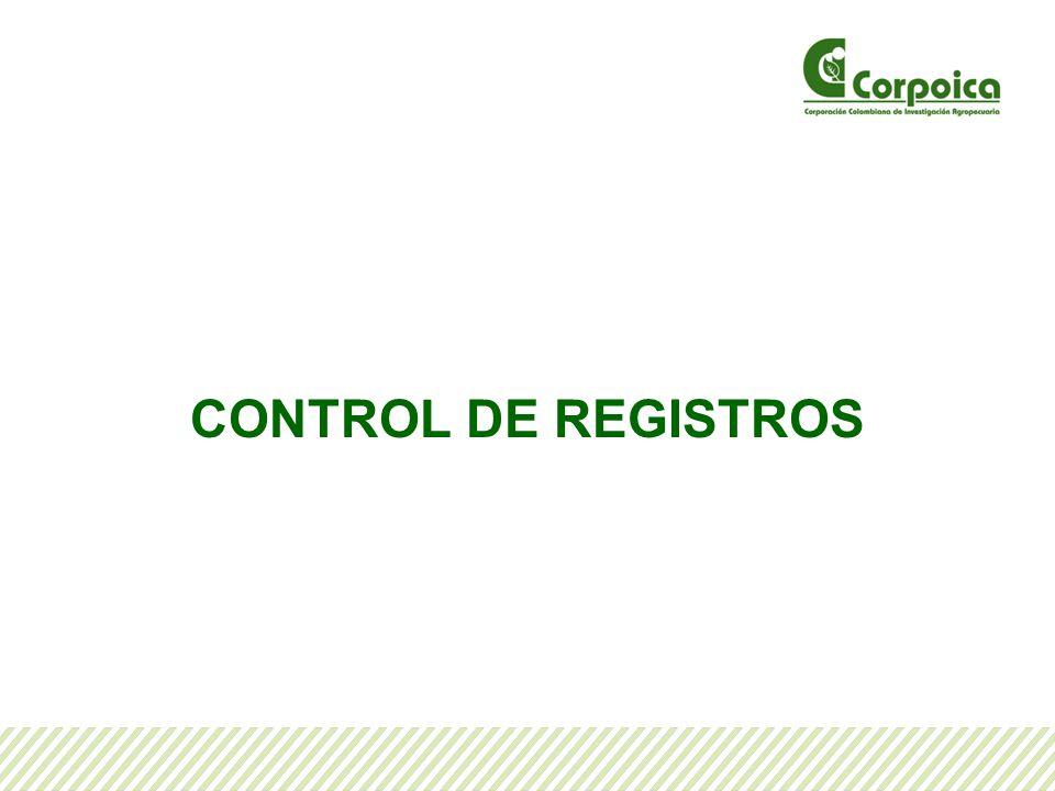 Para Controlar los Registros Tenga en Cuenta: Identificación: Los registros se identifican con la información básica que permite relacionarlos con el proceso o actividad de donde se originan los datos.