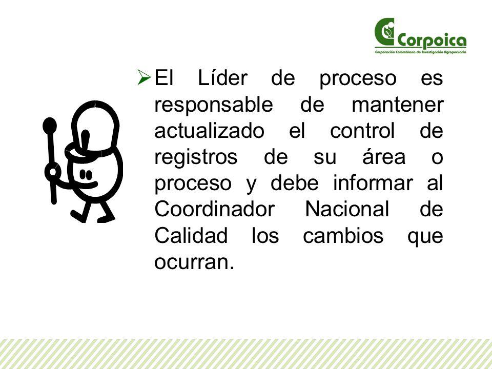 El Líder de proceso es responsable de mantener actualizado el control de registros de su área o proceso y debe informar al Coordinador Nacional de Cal