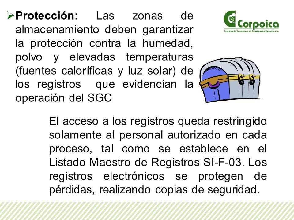 Protección: Las zonas de almacenamiento deben garantizar la protección contra la humedad, polvo y elevadas temperaturas (fuentes caloríficas y luz sol