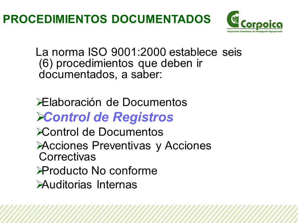 Procedimiento Control de Registros La norma ISO 9001 en el numeral 4.2.4 establece que la organización debe establecer un procedimiento documentado para definir los controles para la identificación, el almacenamiento, la protección, la recuperación, el tiempo de retención y la disposición de los registros.
