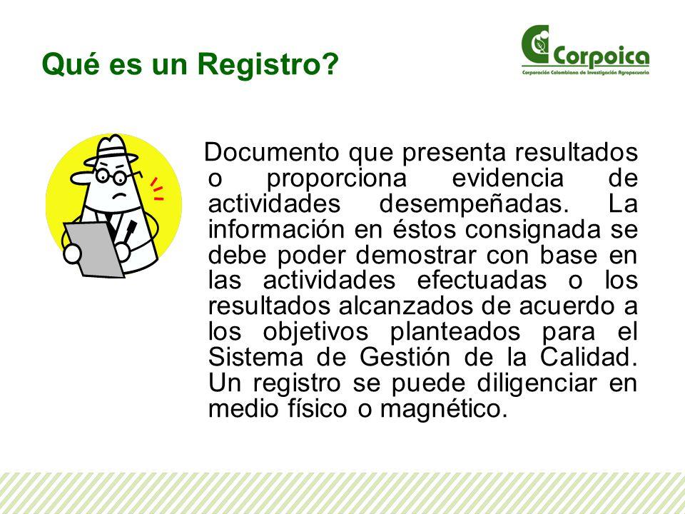 Qué es un Registro? Documento que presenta resultados o proporciona evidencia de actividades desempeñadas. La información en éstos consignada se debe