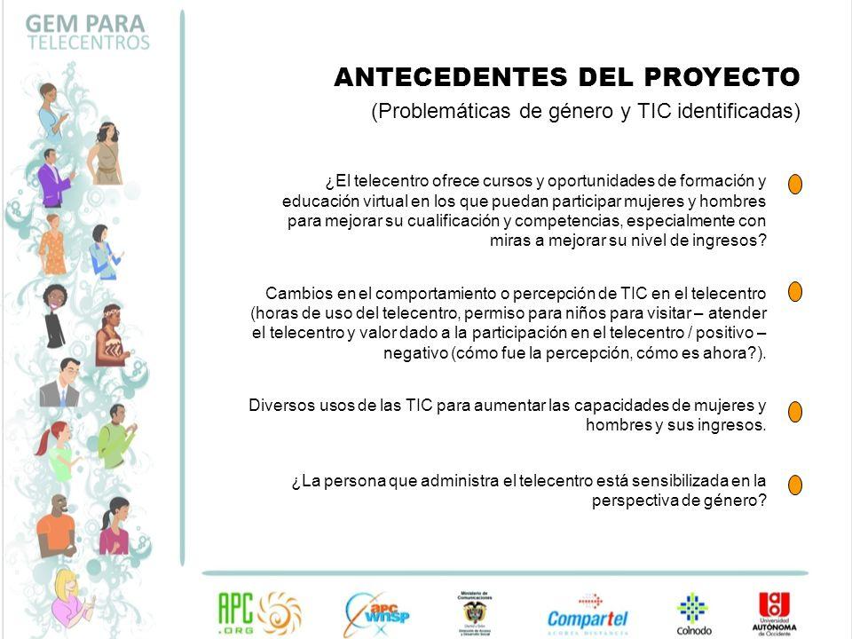 ANTECEDENTES DEL PROYECTO (Problemáticas de género y TIC identificadas) ¿El telecentro ofrece cursos y oportunidades de formación y educación virtual
