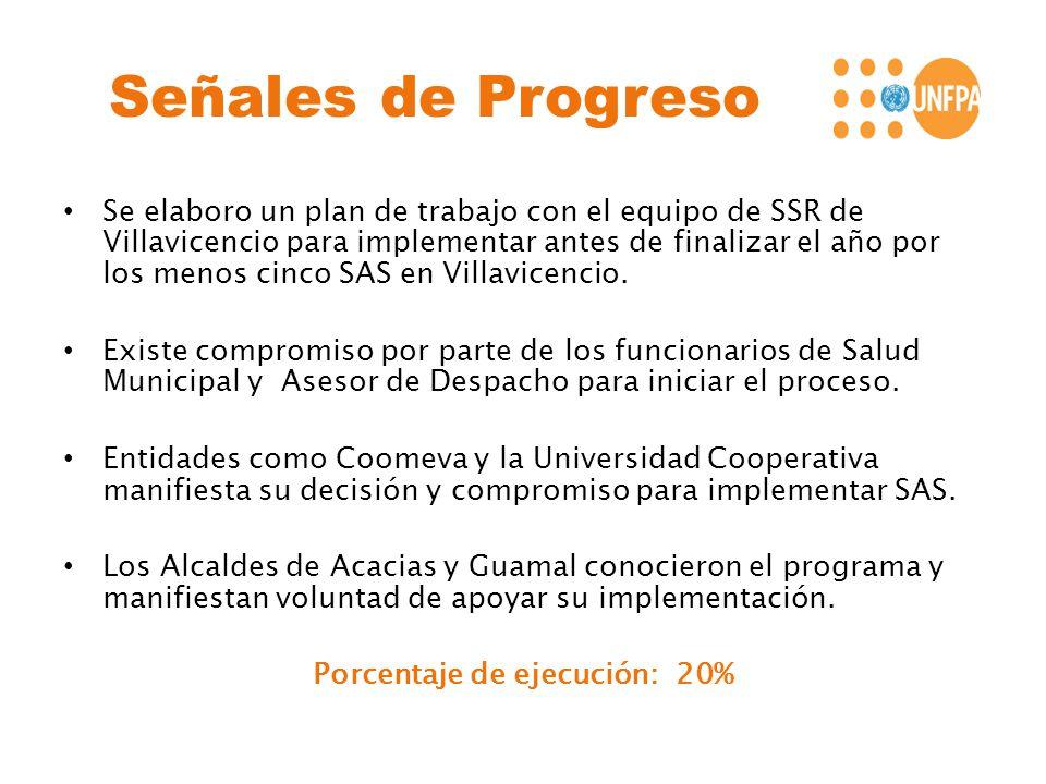 Señales de Progreso Se elaboro un plan de trabajo con el equipo de SSR de Villavicencio para implementar antes de finalizar el año por los menos cinco