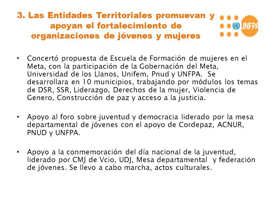 3. Las Entidades Territoriales promuevan y apoyan el fortalecimiento de organizaciones de jóvenes y mujeres Concertó propuesta de Escuela de Formación
