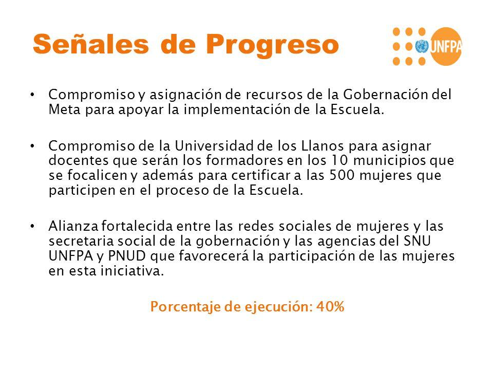Señales de Progreso Compromiso y asignación de recursos de la Gobernación del Meta para apoyar la implementación de la Escuela. Compromiso de la Unive