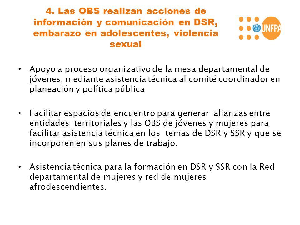 4. Las OBS realizan acciones de información y comunicación en DSR, embarazo en adolescentes, violencia sexual Apoyo a proceso organizativo de la mesa