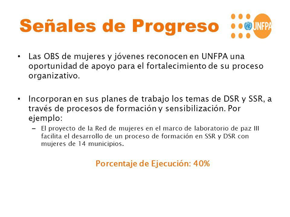 Señales de Progreso Las OBS de mujeres y jóvenes reconocen en UNFPA una oportunidad de apoyo para el fortalecimiento de su proceso organizativo. Incor