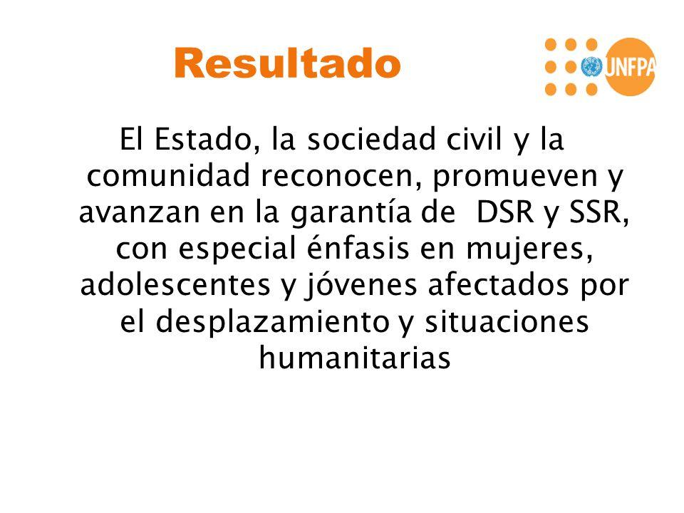 Resultado El Estado, la sociedad civil y la comunidad reconocen, promueven y avanzan en la garantía de DSR y SSR, con especial énfasis en mujeres, adolescentes y jóvenes afectados por el desplazamiento y situaciones humanitarias
